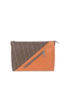 Fendi - FF monogram logo fabric bag in brown