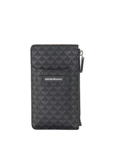 Emporio Armani - Faux leather card holder in black