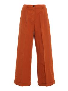 MYTHS - Cotton linen blend trousers in brown
