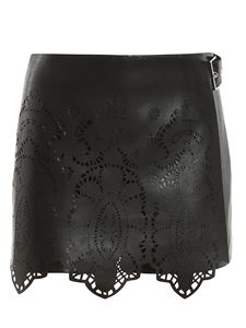 Ermanno Scervino - Faux leather pant skirt in black