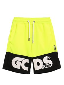 GCDS - Mesh bermuda shorts in yellow