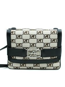 Alberta Ferretti - Logo print canvas bag in white