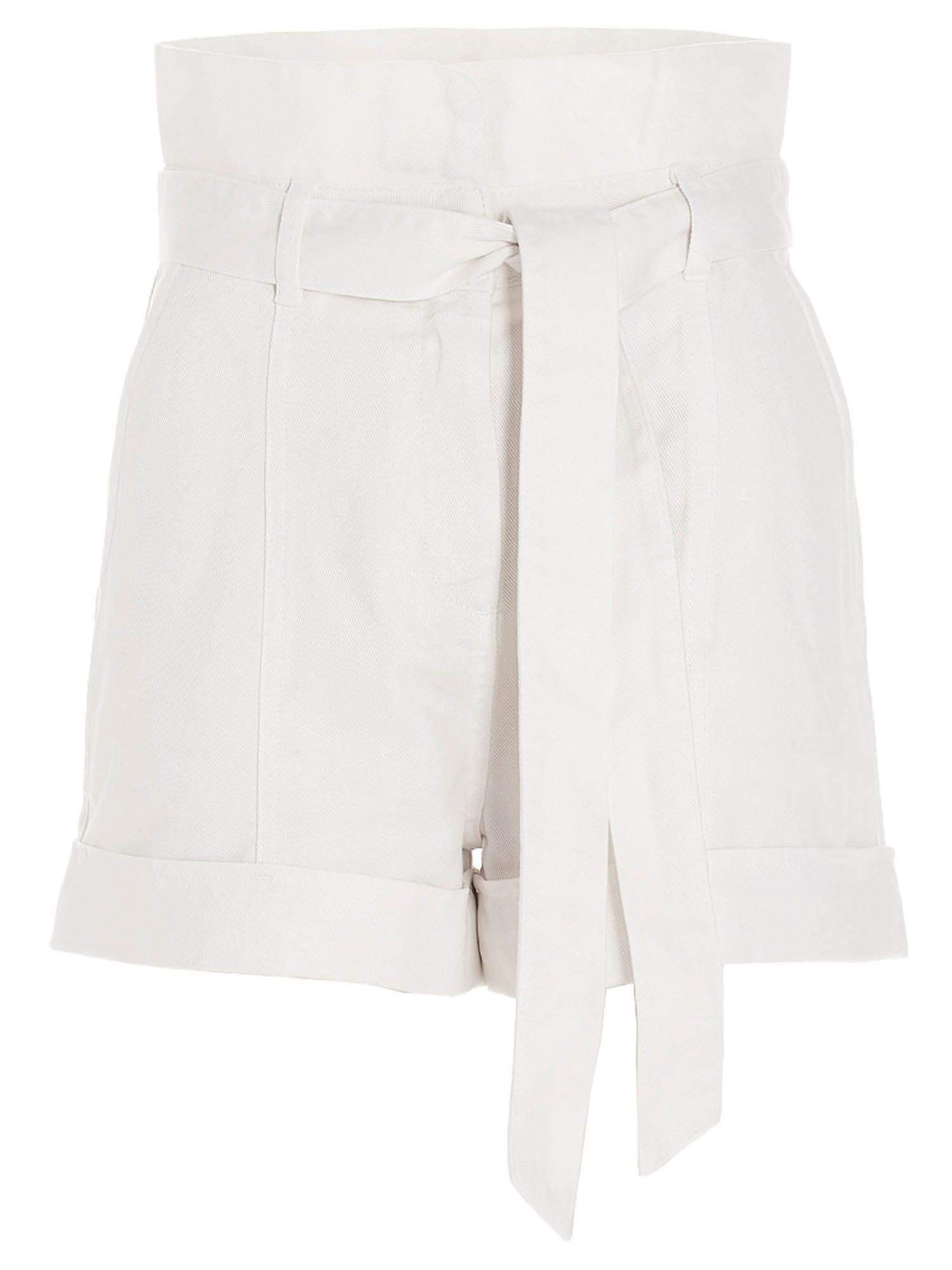 Twinset Shorts HIGH-WAISTED BERMUDA SHORTS IN WHITE