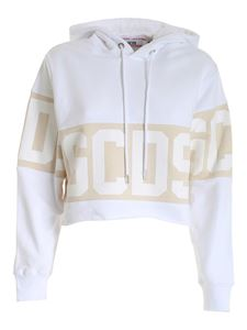 GCDS - White cropped hoodie