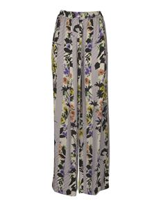 Off-White - Striped floral trousersin gray