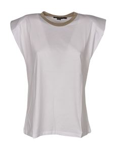 Seventy - White top with lamé collar