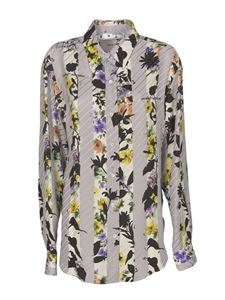 Off-White - Floral striped shirt in gray
