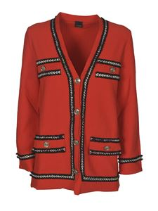 Pinko - Contrasting inserts cardigan in red