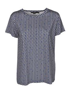 Seventy - Printed T-shirt in blue and cream satin