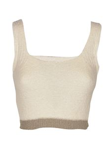 Pinko - Cropped lamé top in white