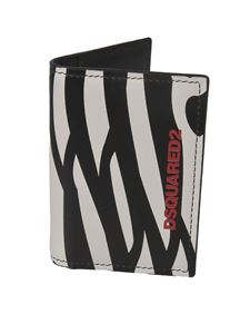 Dsquared2 - Zebra print card holder in black and white