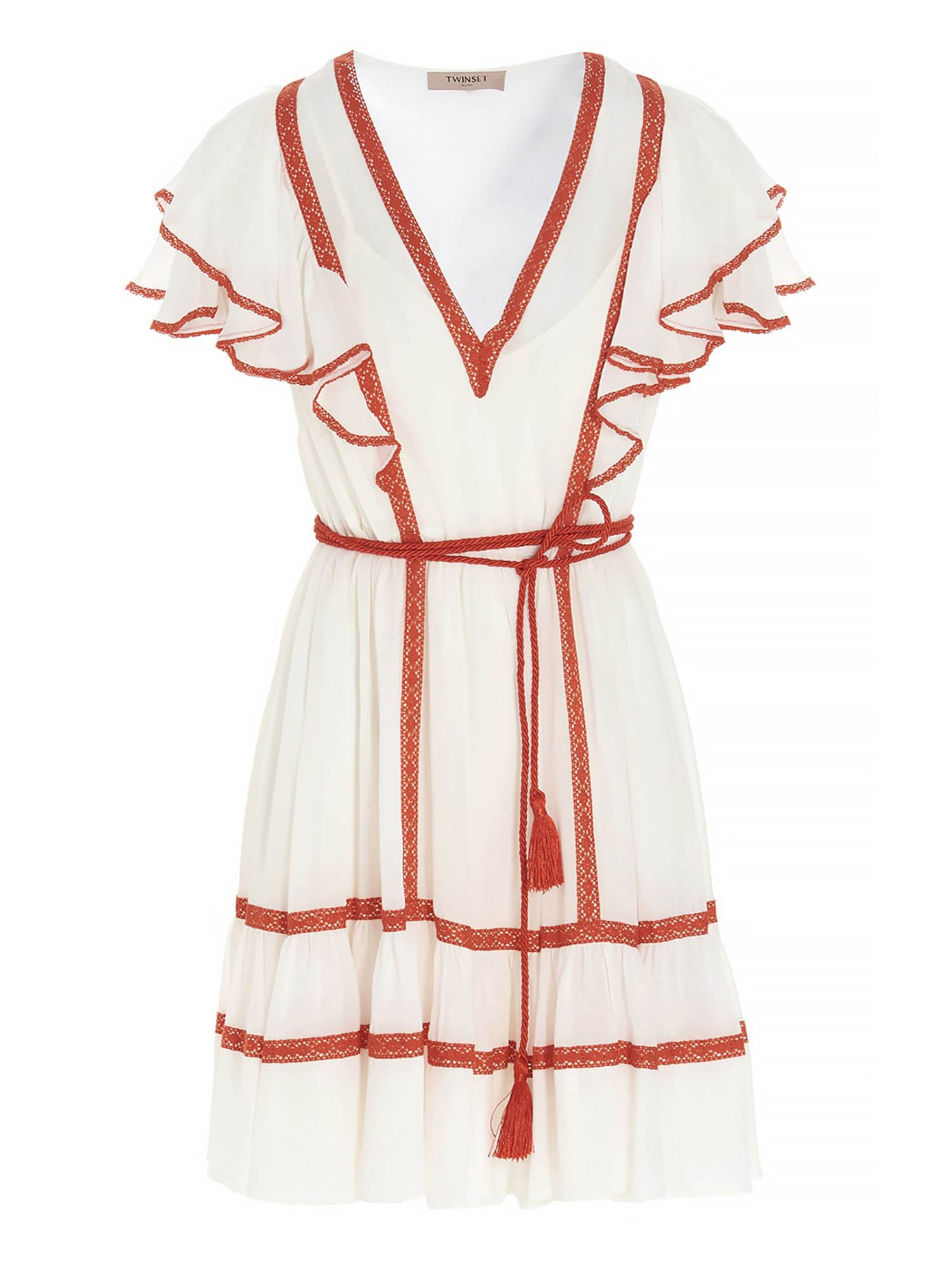 Twinset DRESS WITH TRIMMING INSERT IN WHITE