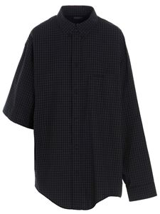 Balenciaga - Check asymmetrical shirt in black