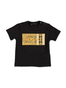 Versace Young - Embroidered logo T-shirt in black