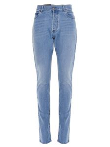 Balmain - Embroidered jeans in light blu