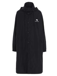 Balenciaga - Long raincoat with logo print in black