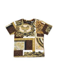 Versace Young - Baroque print T-shirt in golden color