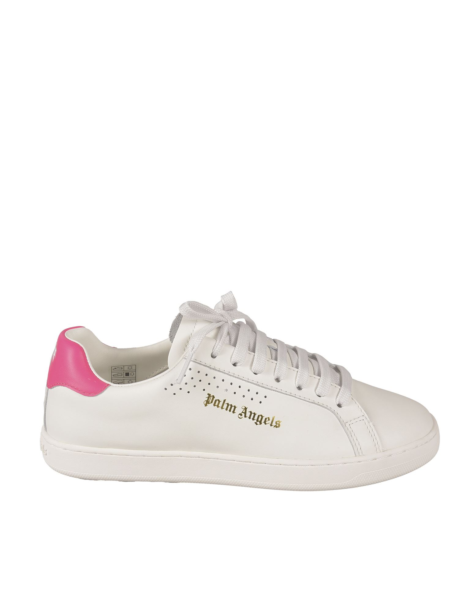 Palm Angels LOGO SNEAKERS IN WHITE AND FUCHSIA