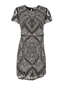 Twin-Set - Contrasting embroidery dress in black