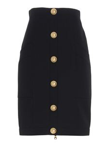 Balmain - Gold colored buttons skirt in black