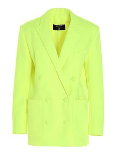 Balmain - Double-breasted boyfriend blazer in yellow