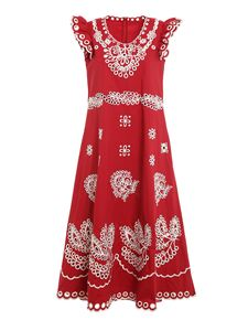 Red Valentino - Broderie anglaise embroideries dress in red