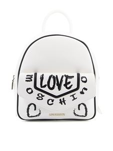 Love Moschino - Printed faux leather backpack in white