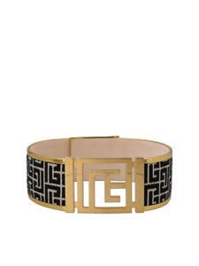 Balmain - Black details belt in gold color