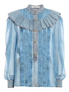 Philosophy di Lorenzo Serafini - Ruffled blouse in blue