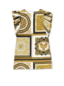 Versace Young - Baroque print dress with ruffles