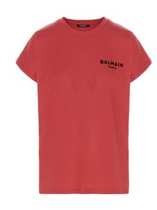 Balmain - Flocked logo t-shirt in red