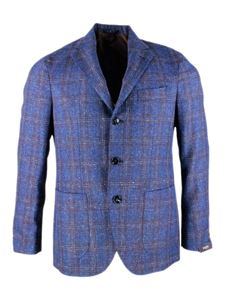 Barba - Checked jacket in blue
