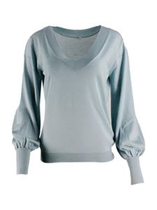 malo - Puffed sleeves sweater in aquamarine color