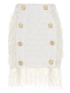 Balmain - Fringed tweed skirt in white