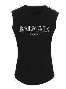 Balmain - Gold buttons top in black