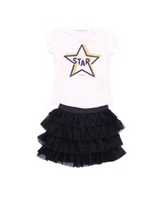 LIU JO Junior - Completo t-shirt e gonna bicolor stampa star