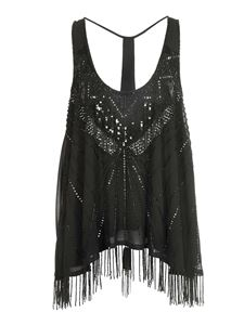 TWINSET - Sequined top in black