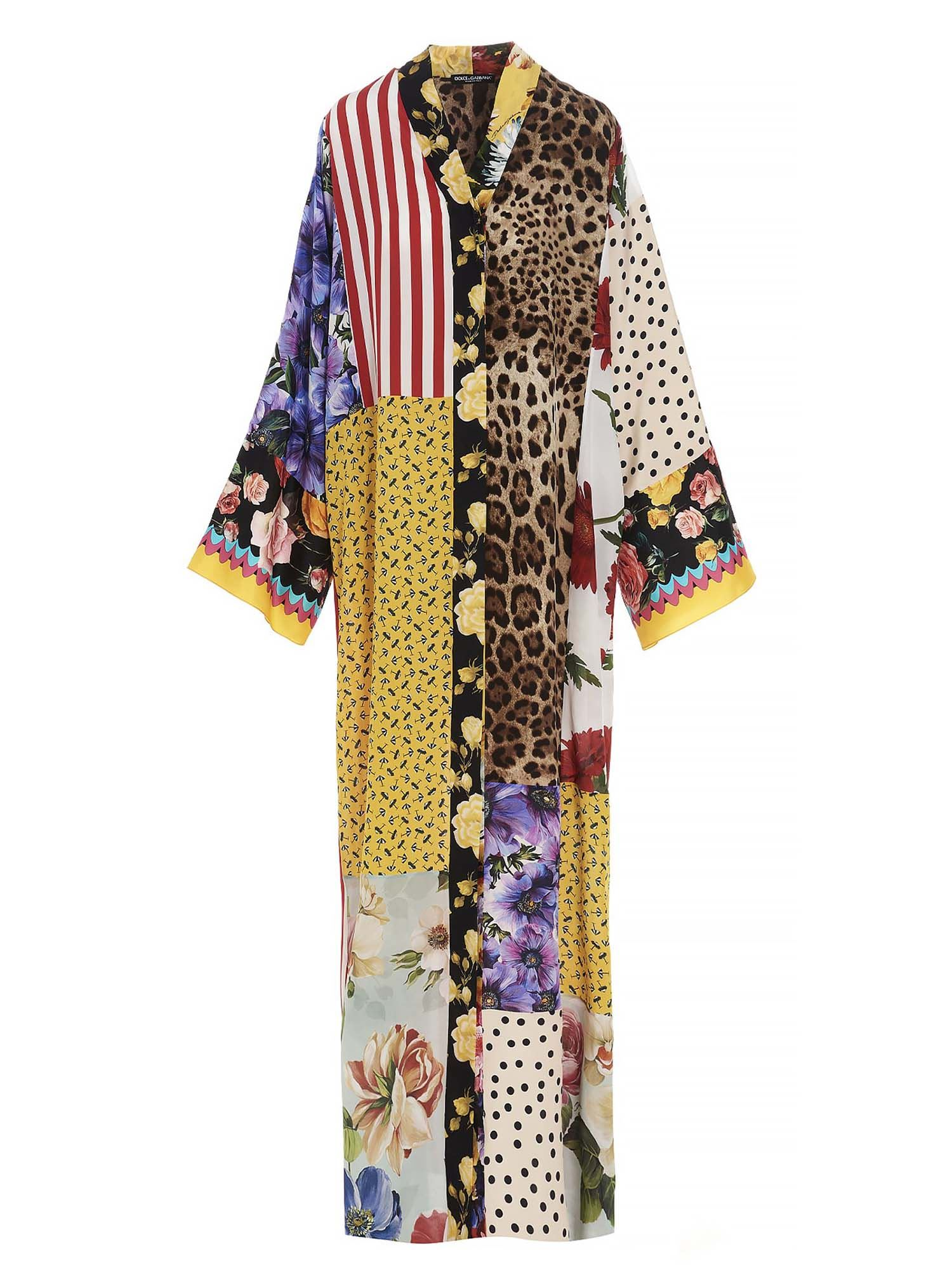 Dolce & Gabbana PATCHWORK MAXI DRESS IN MULTICOLOR