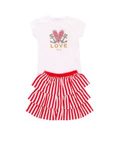 LIU JO Junior - T-shirt and skirt set in white and red