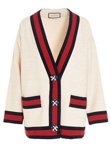 Gucci - Red and black details cardigan in white