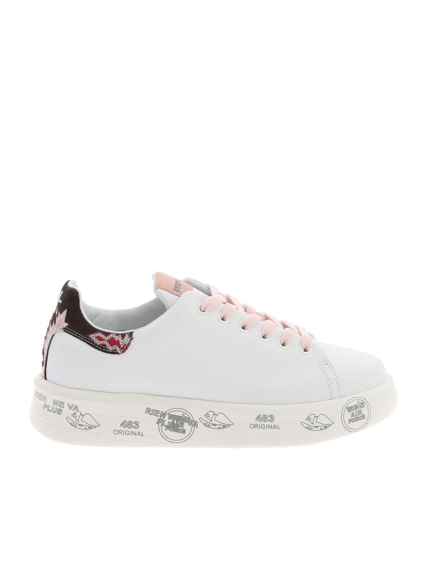 Premiata Suedes LOGO EMBROIDERY SNEAKERS IN WHITE