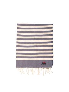 MC2 Saint Barth - Logo striped beach towel in blue and beige