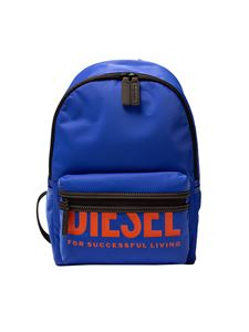 Diesel - Contrasting logo print backpack in blue