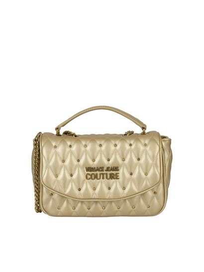 Versace Jeans Couture - Studded crossbody bag in gold color