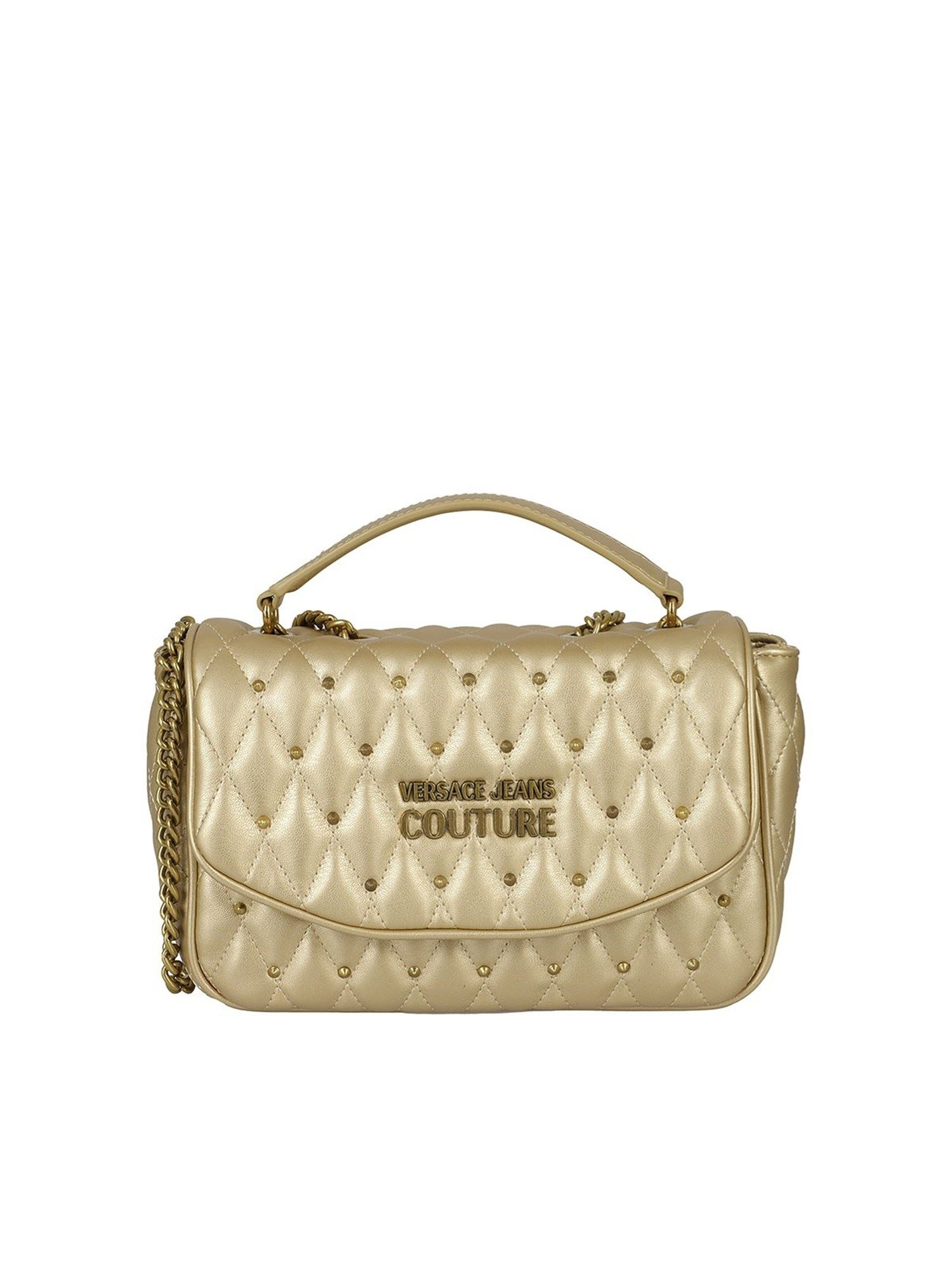 Versace Jeans Couture Leathers STUDDED CROSSBODY BAG IN GOLD COLOR