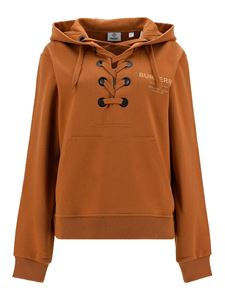 Burberry - Cotton lace-up hoodie in camel color