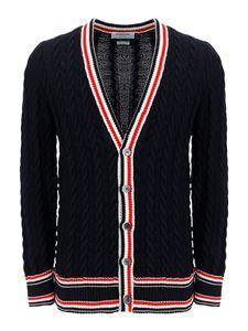 Thom Browne - Cable-knit cardigan in blue