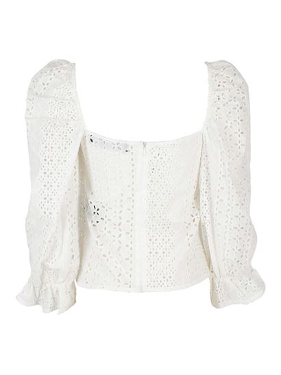 Federica Tosi - Ruffled sleeves cotton blouse in white