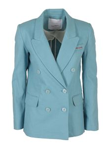 Giada Benincasa - Cotton linen blend blazer in light blue