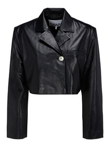 Ganni - Leather jacket in black